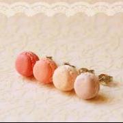 Food Earrings - Macaron Earrings in Dusty Pink Series
