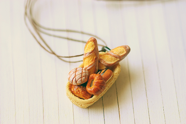 Miniature Food Jewelry - Bread Basket Necklace - French Bread Necklace