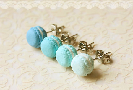 Food Earrings - Macaron Earrings in Lagoon Blue Series