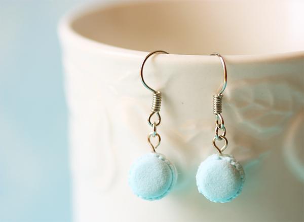 Food Jewelry - Powder Blue Macaron Earrings