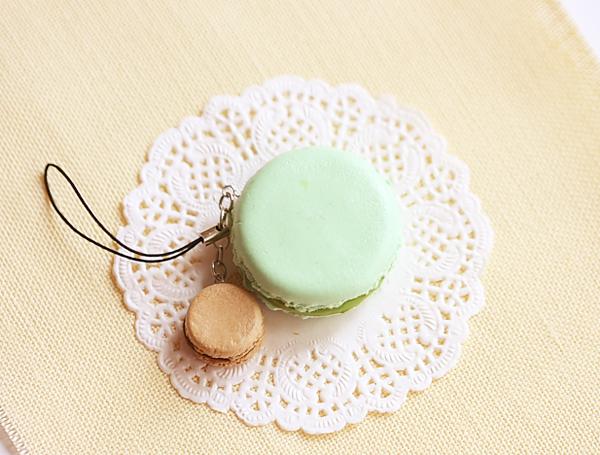 Macaron Keychain - Macaron Phone Charm Bag Charm - Pistachio and Hazelnut Chocolate Macaron