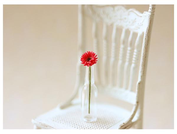 Dollhouse Miniature Flowers - Miniature Red Gerbera Daisy