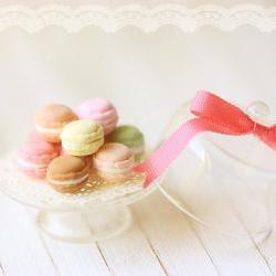 Dollhouse Miniature Food - Sweet Macarons on Glass Display Stand