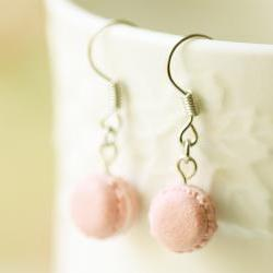 Miniature Food Jewelry - Soft Pink French Macaron Earrings